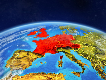 Western Europe on planet Earth with country borders and highly detailed planet surface and clouds. 3D illustration. Banco de Imagens