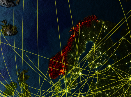 Norway from space on model of planet Earth with networks. Detailed planet surface with city lights. 3D illustration. Imagens