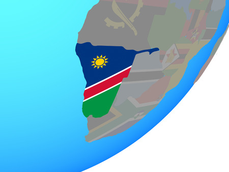 Namibia with embedded national flag on blue political globe. 3D illustration.