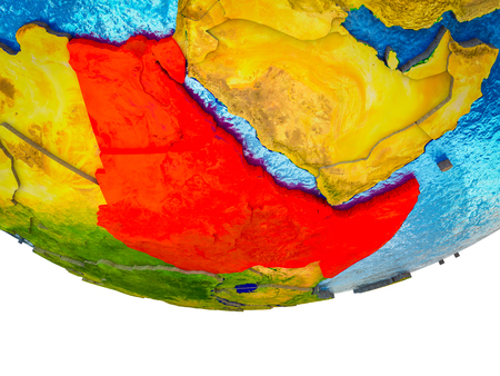 Northeast Africa on 3D Earth with divided countries and watery oceans. 3D illustration.