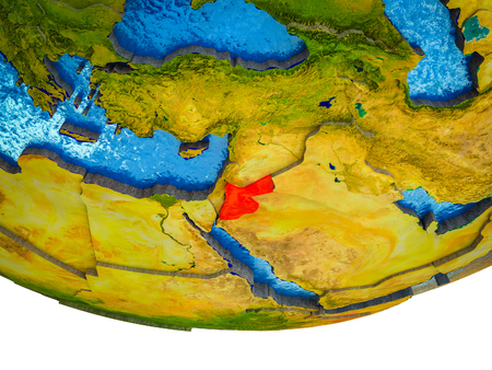 Jordan on 3D Earth with divided countries and watery oceans. 3D illustration.