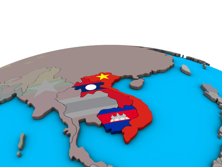 Indochina with embedded national flags on political 3D globe. 3D illustration.
