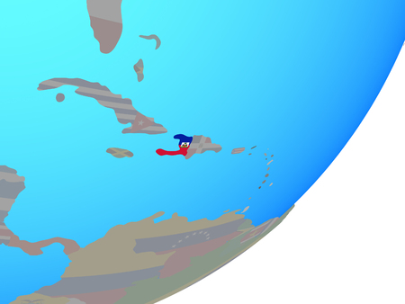 Haiti with embedded national flag on blue political globe. 3D illustration.