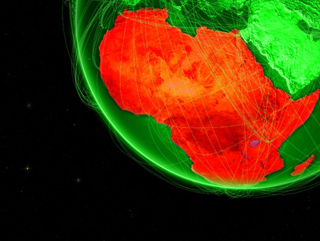 Africa on green Earth with network. Concept of connectivity, internet or telecommunications. May also represent air traffic. 3D illustration.