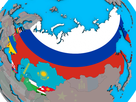 Former Soviet Union with embedded national flags on blue political 3D globe. 3D illustration.