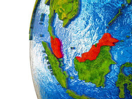 Malaysia highlighted on 3D Earth with visible countries and watery oceans. 3D illustration.