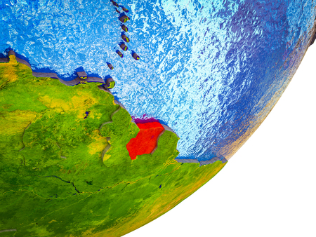 Suriname on 3D model of Earth with water and divided countries. 3D illustration.
