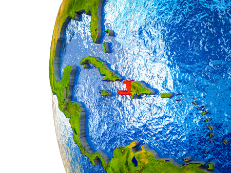 Haiti highlighted on 3D Earth with visible countries and watery oceans. 3D illustration.