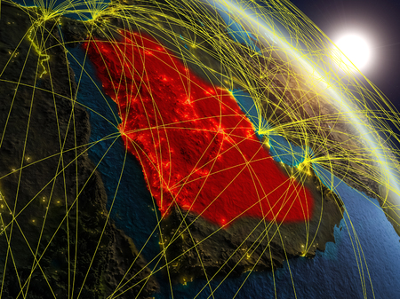 Saudi Arabia from space on realistic model of planet Earth with network. Concept of digital technology, connectivity and travel. 3D illustration.