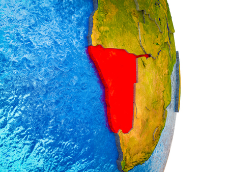 Namibia on 3D model of Earth with divided countries and blue oceans. 3D illustration. 스톡 콘텐츠