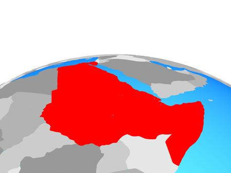Northeast Africa on political globe. 3D illustration. Stock Photo