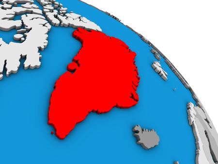 Greenland on simple blue political 3D globe. 3D illustration.