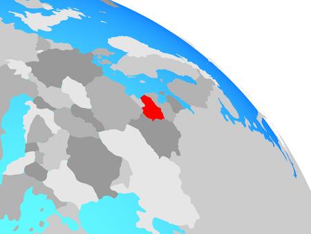 Lithuania on simple blue political globe. 3D illustration.