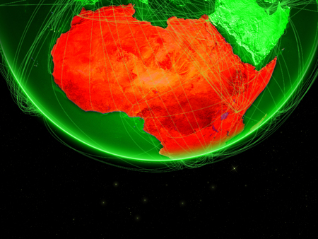 Africa on green Earth with networks. Concept of intercontinental connections. 3D illustration.