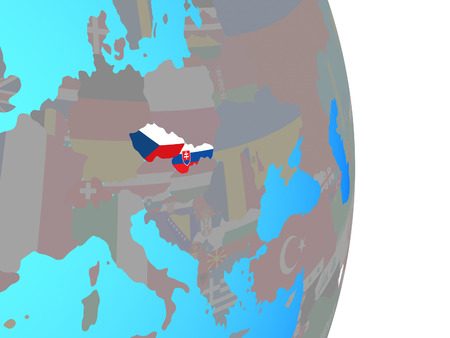 Former Czechoslovakia with national flags on simple political globe. 3D illustration. Stok Fotoğraf