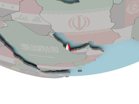 3D illustration of Qatar with embedded flag on political globe. 3D render.
