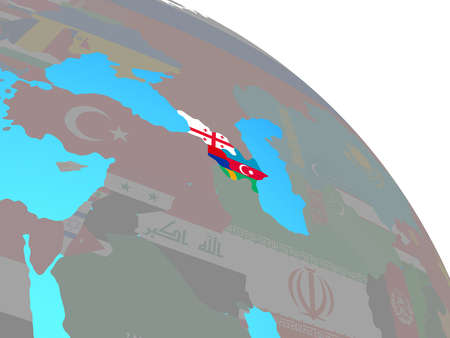 Caucasus region with national flags on simple blue political globe. 3D illustration. Reklamní fotografie