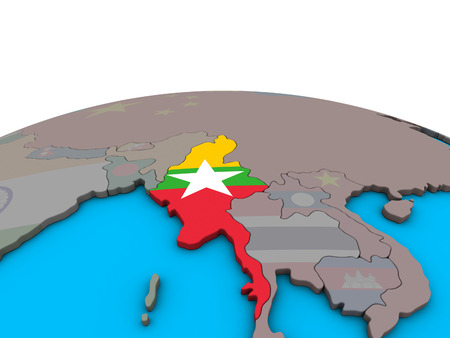 Myanmar with embedded national flag on political 3D globe. 3D illustration.