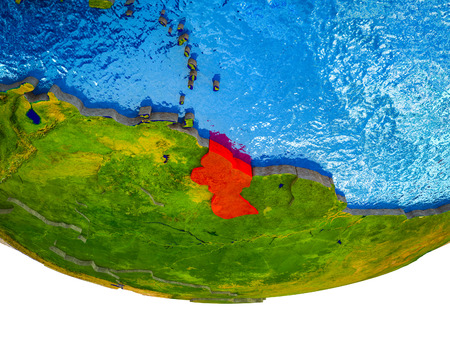 Guyana on 3D Earth with divided countries and watery oceans. 3D illustration.