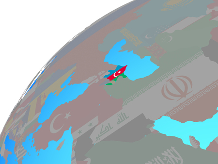 Azerbaijan with embedded national flag on globe. 3D illustration.