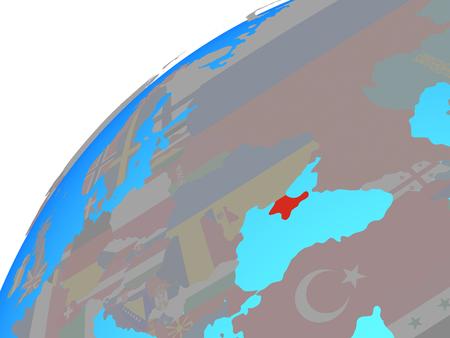 Crimea with embedded national flag on globe. 3D illustration.
