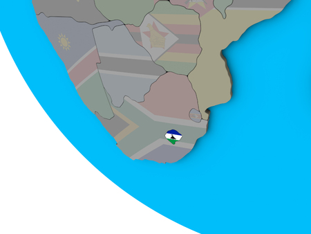 Lesotho with embedded national flag on simple 3D globe. 3D illustration.