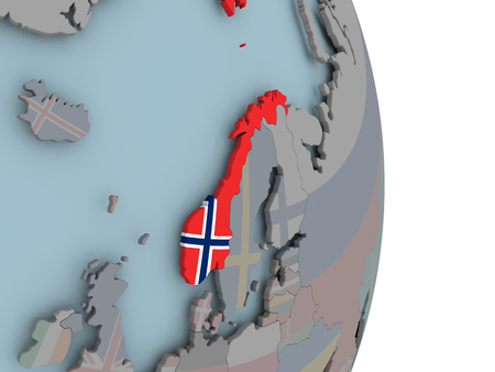 Norway with embedded national flag on political globe. 3D illustration.