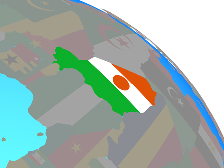 Niger with national flag on simple blue political globe. 3D illustration.