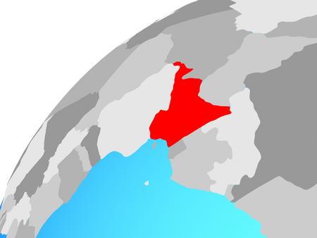Cameroon on globe. 3D illustration.