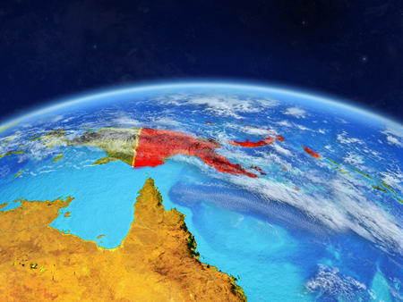 Papua New Guinea on planet Earth with country borders and highly detailed planet surface and clouds. 3D illustration.