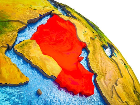 CCASG countries Highlighted on 3D Earth model with water and visible country borders. 3D illustration.