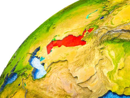 Uzbekistan on 3D Earth model with visible country borders. 3D illustration.