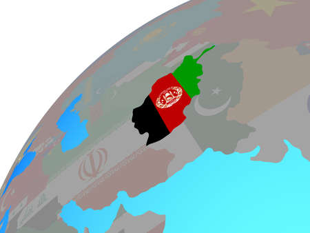 Afghanistan with embedded national flag on globe. 3D illustration.