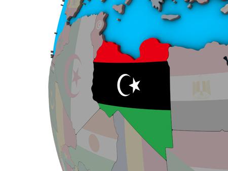 Libya with national flag on blue political 3D globe. 3D illustration.