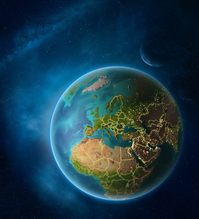 Planet Earth with highlighted Macedonia in space with Moon and Milky Way. Visible city lights and country borders. 3D illustration.