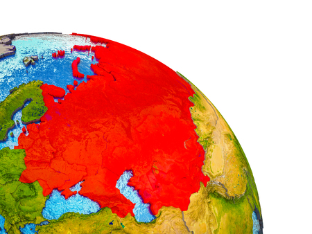 Former Soviet Union Highlighted on 3D Earth model with water and visible country borders. 3D illustration.