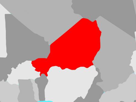Niger on blue political globe. 3D illustration.