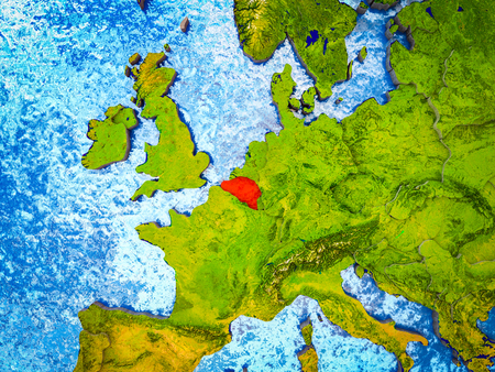 Belgium on model of 3D Earth with blue oceans and divided countries. 3D illustration. Stok Fotoğraf - 113778260