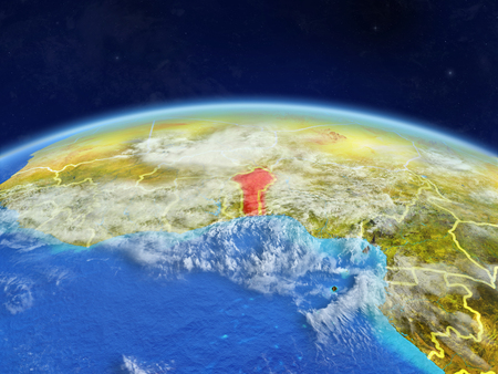 Benin on planet Earth with country borders and highly detailed planet surface and clouds. 3D illustration. Imagens