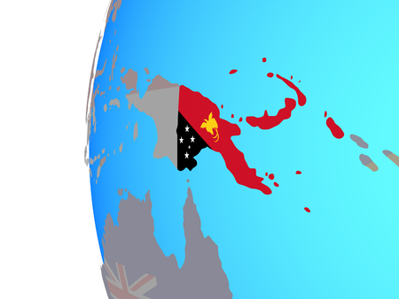 Papua New Guinea with embedded national flag on blue political globe. 3D illustration.