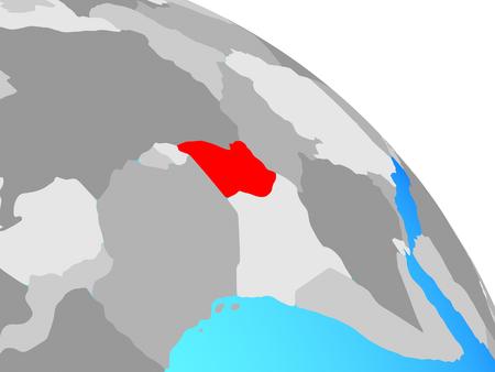 Uganda on simple blue political globe. 3D illustration.