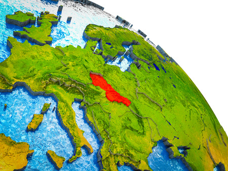 Former Czechoslovakia Highlighted on 3D Earth model with water and visible country borders. 3D illustration. Stok Fotoğraf