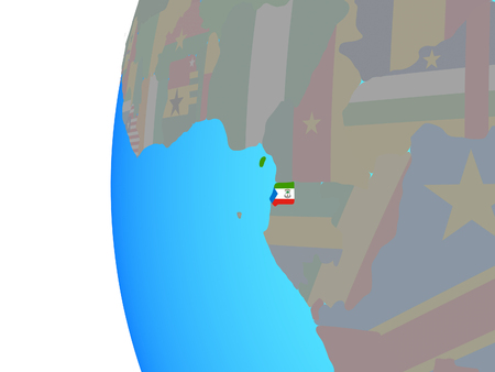 Equatorial Guinea with embedded national flag on blue political globe. 3D illustration.