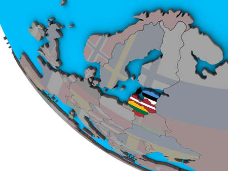 Baltic States with embedded national flags on simple 3D globe. 3D illustration.
