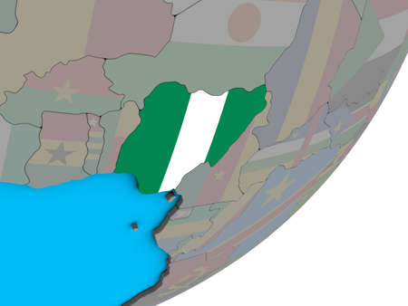 Nigeria with national flag on blue political 3D globe. 3D illustration. Stock Photo