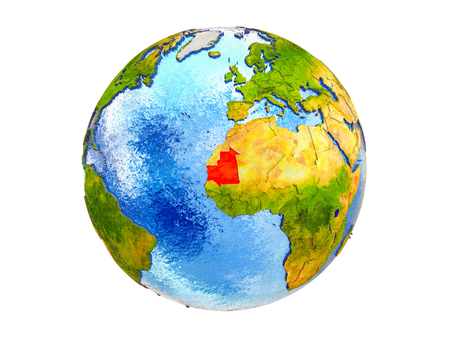 Mauritania on 3D model of Earth with country borders and water in oceans. 3D illustration isolated on white background.