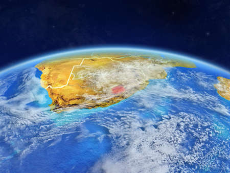 Lesotho on planet Earth with country borders and highly detailed planet surface and clouds. 3D illustration. Reklamní fotografie
