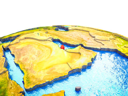 Qatar on 3D Earth with visible countries and blue oceans with waves. 3D illustration. Stock Illustration - 113778730