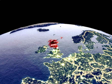 Scotland from space on planet Earth at night with bright city lights. Detailed plastic planet surface with real mountains. 3D illustration.
