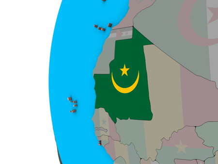 Mauritania with national flag on blue political 3D globe. 3D illustration. Stock Photo